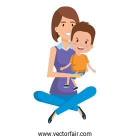 mother sitting on the floor carrying son