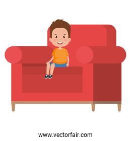 little boy sitting in sofa character