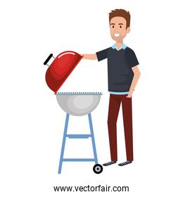man using grill character