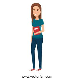 woman student with book  avatar character