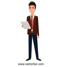 businessman with documents avatar character