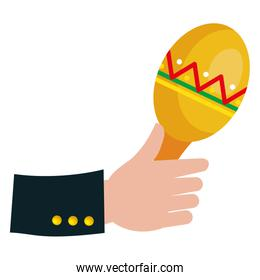 hand with maracas tropical instrument icon