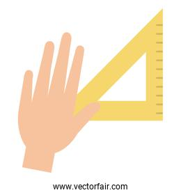 hand with rule school supply icon