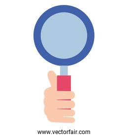hand human with magnifying glass isolated icon