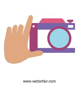 hand with photographic camera