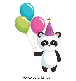 cute panda bear with hat and balloons party