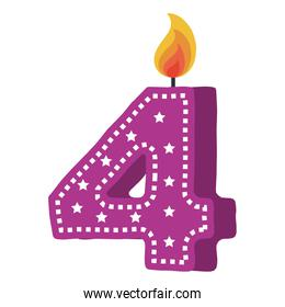 birthday candle with number four