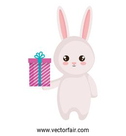 cute rabbit with giftbox character