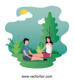 cute lovers couple seated on the park characters