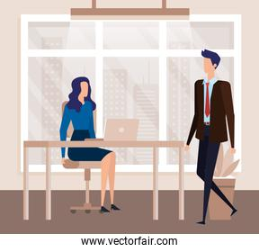 elegant business couple workers in the office