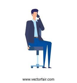 businessman calling with smartphone seated in office chair