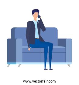 businessman worker calling with smartphone in the livingroom