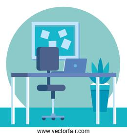 elegant office workplace scene icons
