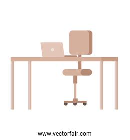 desk with laptop and chair office equipment