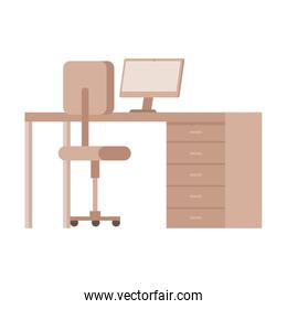 desk with desktop and chair office equipment
