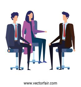 business people workers in office chairs