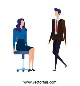 elegant business couple workers in office chairs