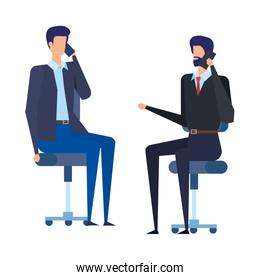 businessmen workers calling with cellphones in office chairs