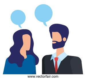 elegant business couple speaking with speech bubbles