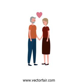 cute grandparents couple with heart
