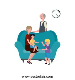 cute grandparents couple with little kids in the sofa