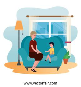 cute grandmother with grandson in the sofa