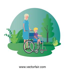cute grandmother with grandson in wheelchair