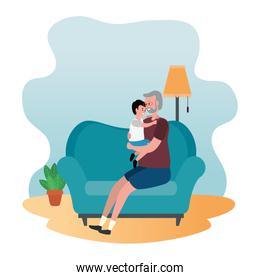 cute grandfather with grandson in the sofa
