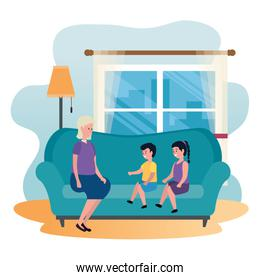grandmother with kids in the sofa characters