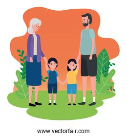 cute grandparents couple with grandsons