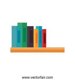 shelf wooden with pile text books library icons
