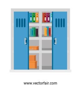 office shelving with pile text books library