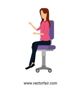 elegant businesswoman worker seated in office chair