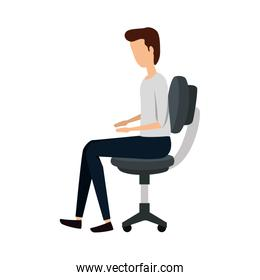 elegant businessman worker seated in office chair