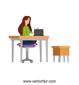 elegant businesswoman working in laptop with drawer