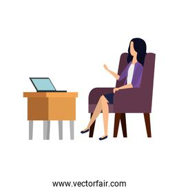 businesswoman worker in the sofa using laptop