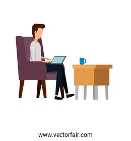 businessman worker in the sofa using laptop