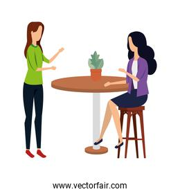 elegant businesswomen in table with houseplant