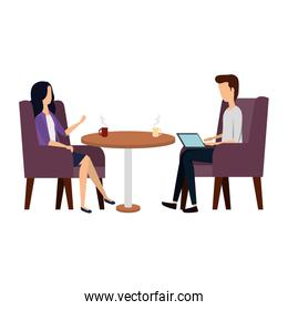 elegant business couple working with laptop in livingroom