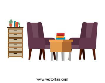 confortable sofa and wooden table livingroom scene