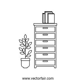 wooden drawer with books and houseplant