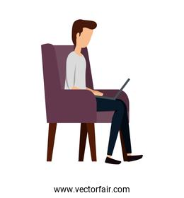 businessman using laptop in the sofa