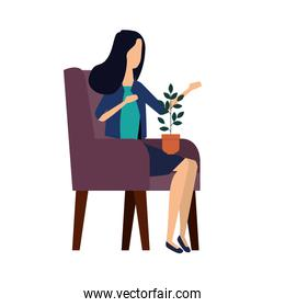 elegant businesswoman with houseplant in the sofa