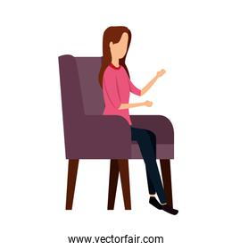 elegant businesswoman worker in the sofa