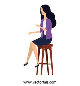 elegant businesswoman seated in bench
