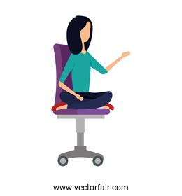 elegant businesswoman with lotus position in office chair