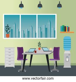 office places scenes with laptop