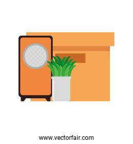 speaker sound with houseplant and box carton