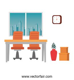 office work place scene icons