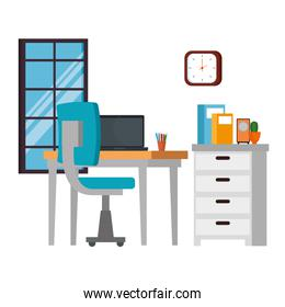 office work place scene with laptop